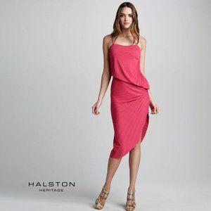 HALSTON HERITAGE Asymmetric Pleated Pink Dress
